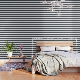 Arsenic - solid color - white stripes pattern Wallpaper