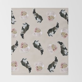 Rex and macaroons pattern Throw Blanket