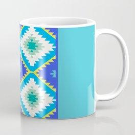 Turkish carpet yellow blue green. Patchwork mosaic oriental kilim rug Coffee Mug