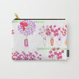 Garden of Pink Potted Flowers Carry-All Pouch