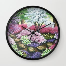 Garden In Spring Wall Clock
