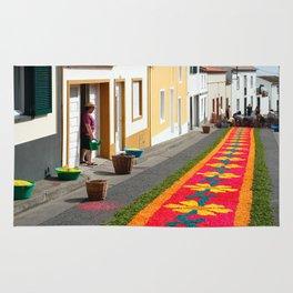 Making flower carpets Rug