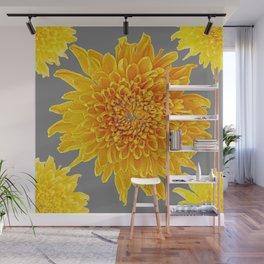 Golden Yellow Chrysanthemums grey color Art Design Wall Mural
