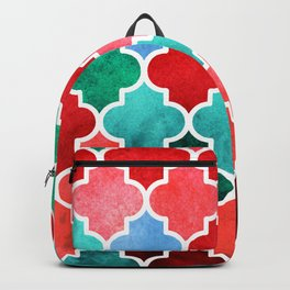 moroccan art watercolor transparant Backpack