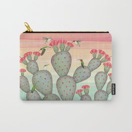 ruby throated hummingbirds & prickly pear cactus Carry-All Pouch
