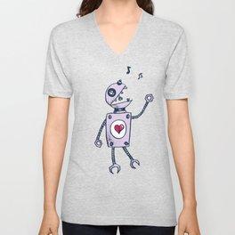Happy Cartoon Singing Robot Unisex V-Neck