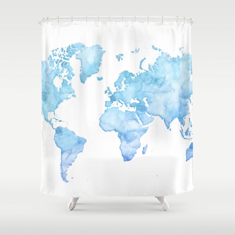 Light Blue Watercolor World Map Shower Curtain By Blursbyaishop