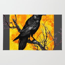 Grey & Gold Pattern  Crow Wildlife Art Rug