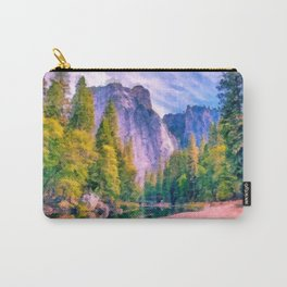 Mountain landscape with forest and river Carry-All Pouch