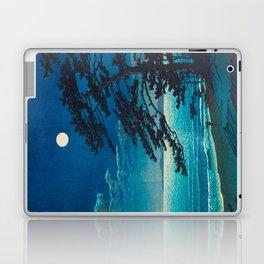 Vintage Japanese Woodblock Print Moonlight Over Ocean Japanese Landscape Tall Tree Silhouette Laptop & iPad Skin