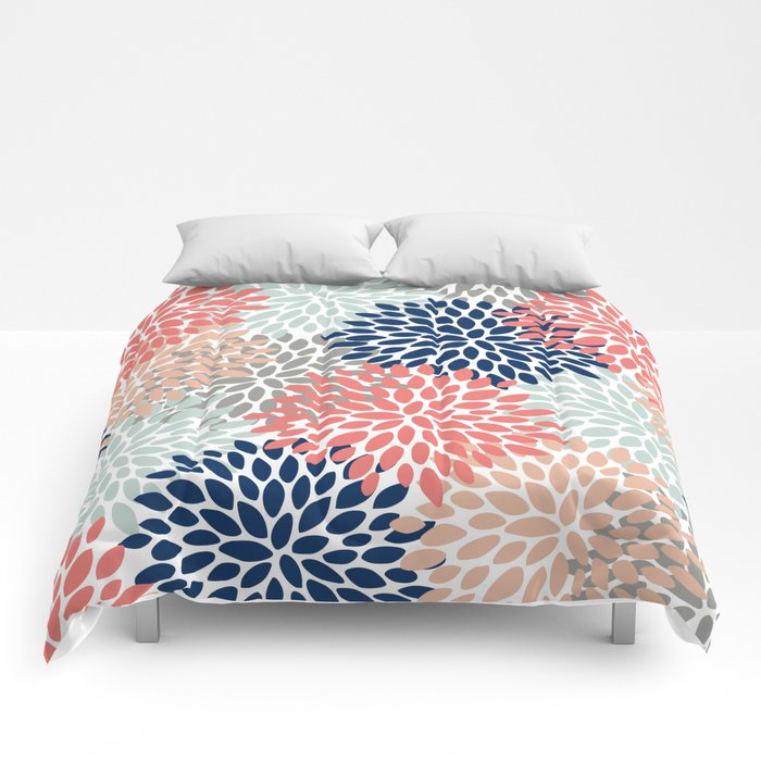 Floral Bloom Print Living Coral Pale Aqua Blue Gray Navy
