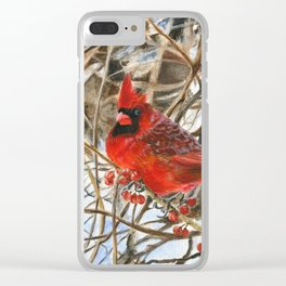 Winter Cardinal by Teresa Thompson Clear iPhone Case