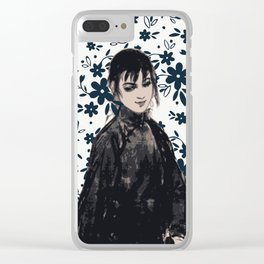 Girl in summer blue Clear iPhone Case