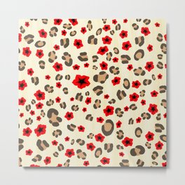 Romantic Leopard Print Pattern with Red Flowers Metal Print