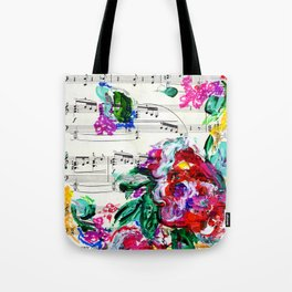 Musical Beauty - Floral Abstract - Piano Notes Tote Bag