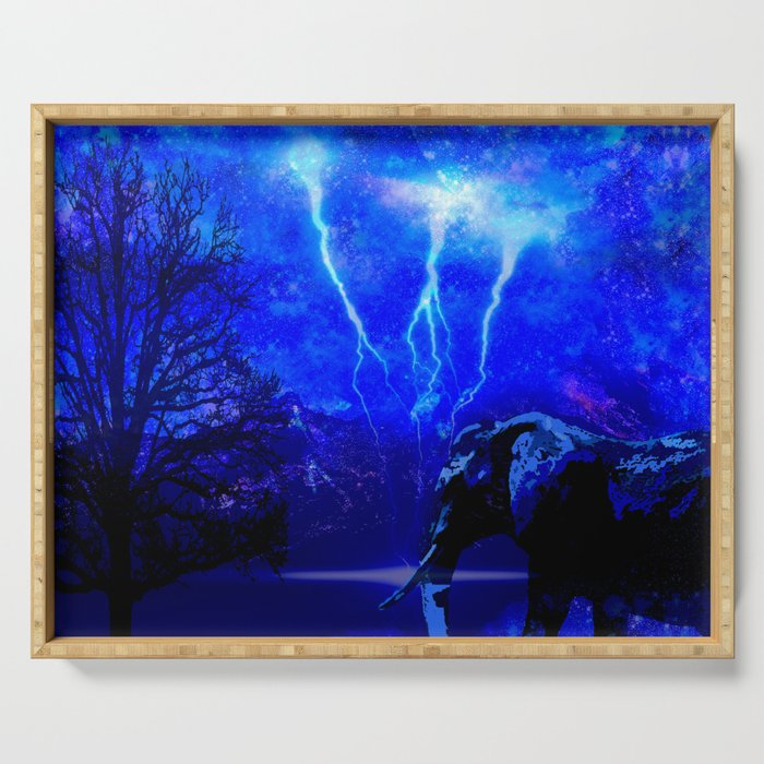 ELEPHANT LIGHTNING AND AFRICAN NIGHTS Serving Tray