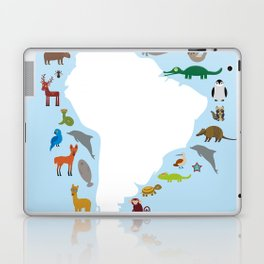 South America sloth anteater toucan lama armadillo manatee monkey dolphin Maned wolf raccoon jaguar Laptop & iPad Skin