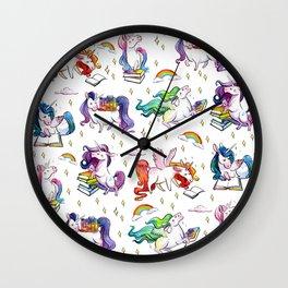 Reading Unicorn Pattern Wall Clock