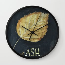 Hand-Painted Fall Ash Leaf Wall Clock