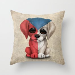 Cute Puppy Dog with flag of Czech Republic Throw Pillow