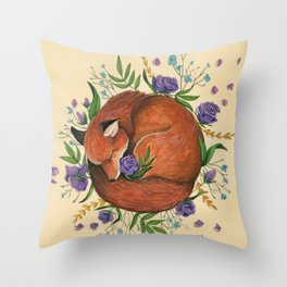 Floral Fox Throw Pillow