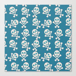 Blue seamless background. Skull and bones. Pirates. Canvas Print