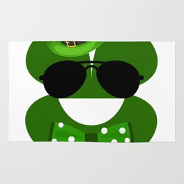 Clover Emoji With Green Top Hat Cool St Patricks Day Rug