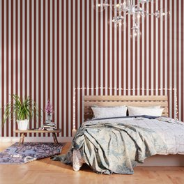 Burnt umber brown - solid color - white vertical lines pattern Wallpaper
