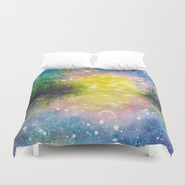 Crescent Moon Reflection Galaxy watercolor by CheyAnne Sexton Duvet Cover