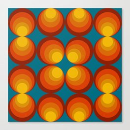 70s Circle Design - Teal Background Canvas Print