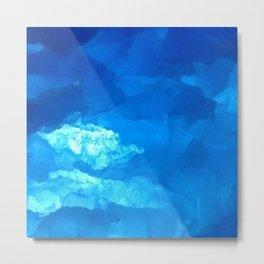 Blue Abstract Close Up Gemstone Metal Print