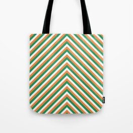 Orange White and Green Irish Chevron Stripe Tote Bag