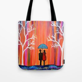 Colors Of Love Romantic Colorful Rainy Painting Tote Bag