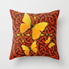 COFFEE BROWN YELLOW BUTTERFLIES CELTIC ART PATTERN  ART Throw Pillow