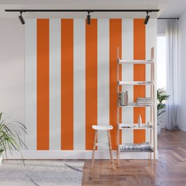 Willpower orange - solid color - white vertical lines pattern Wall Mural