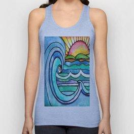 Blue Pastels Inspired Beach Print Unisex Tank Top