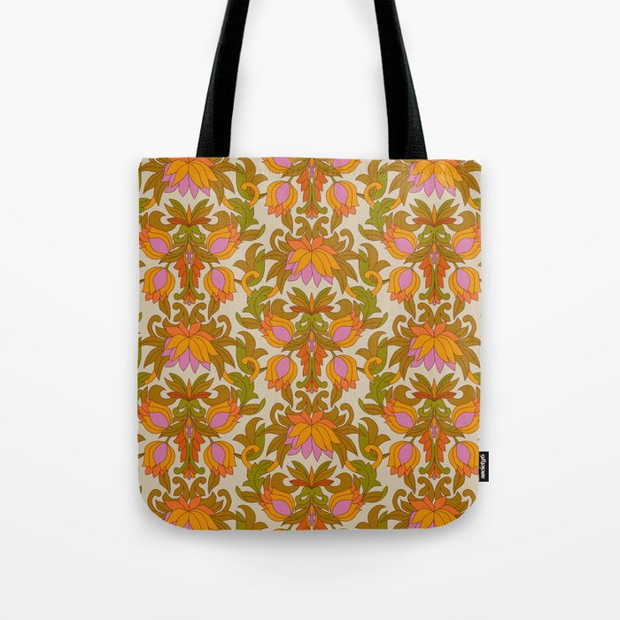 Orange, Pink Flowers and Green Leaves 1960s Retro Vintage Pattern Tote Bag