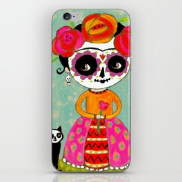 Day Of The Dead Frida with Black Cat iPhone Skin