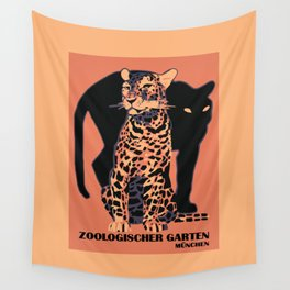 Retro vintage Munich Zoo big cats Wall Tapestry