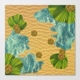 Leafy Sunshade on Tropical Beach Canvas Print