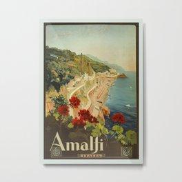Vintage Travel Ad Amalfi Italy Metal Print