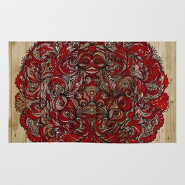 Red Indian Mandala on Wood Rug