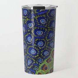 "Macro of Coral Zoanthus ""Blue Hornet"" Travel Mug"