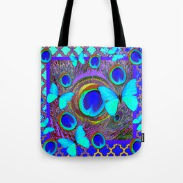 Abstract Blue Butterflies  Peacock Feather Eyes Pattern Art Tote Bag