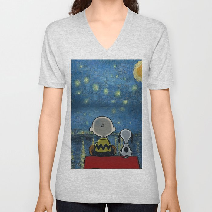 snoopy starry night Unisex V-Neck