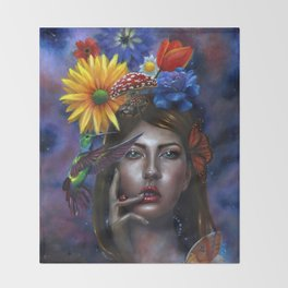 Mind Blown Oil Painting Throw Blanket
