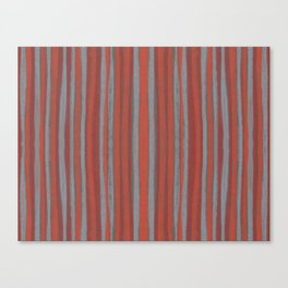Grey and terracotta stripes Canvas Print