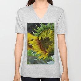 Sunflower Unfolds Unisex V-Neck
