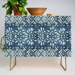 Vintage indigo inspired  flowers and lines Credenza