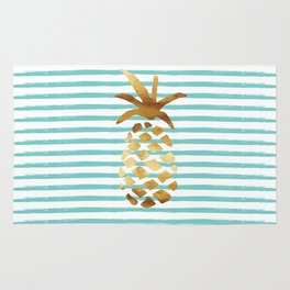 Pineapple & Stripes - Mint/White/Gold Rug
